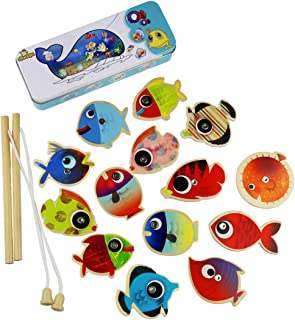 Muxihosn Fishing Game Set, Magnetic Wooden Fishing Pole Game, Educational Toy with 14 Fishes and 2 Rods for Kids Boys Girls Child Age 3 or up