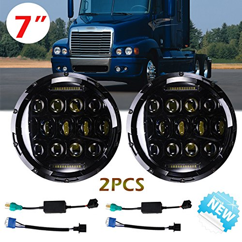7 Inch For Freightliner Century LED Round Headlights Hi/Lo Double Beam DRL Driving Lamp Replacement 75W 6000K H5024 5024 6012 6014 6015 H6017 H6024 2PCS -  Autobaba, AB 1*75W B-06