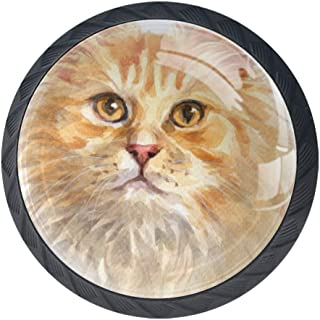 Shiiny Ginger Longhair Cat Drawer Knob Pull Handle Glass Circle Shape Cabinet Drawer Pulls Cupboard Knobs with Screws for Home Office Cabinet Cupboard Set of 4