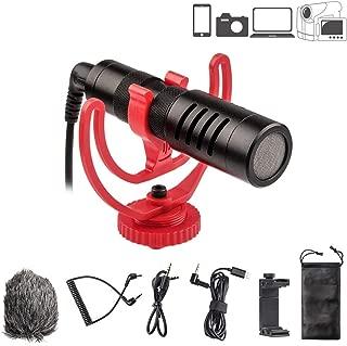 VILTROX ビデオ録音用マイク 外付けマイク 全指向性集音 3.5mmデジタルビデオ録音用マイク 一眼レフマイク カメラマイク ウインドシールドとスマホホルター付きDSLRカメラ/タブレット/iPhone/Androidスマホに対応