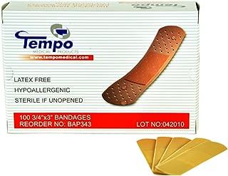 "Tempo Adhesive Plastic Strip Bandage 3/4"" x 3"",  Sterile,  Non Latex,  Hypoallergenic,  100 EA/BX & 60 BX/CS,  BAF343"