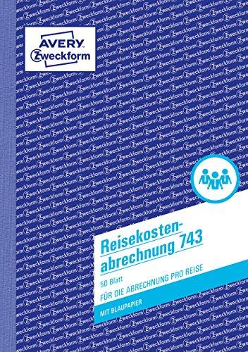 AVERY Zweckform 743 Reisekostenabrechnung (A5, mit 1 Blatt Blaupapier, von Rechtsexperten geprüft, für Deutschland zur Spesen-Abrechung pro Reise, 50 Blatt) weiß