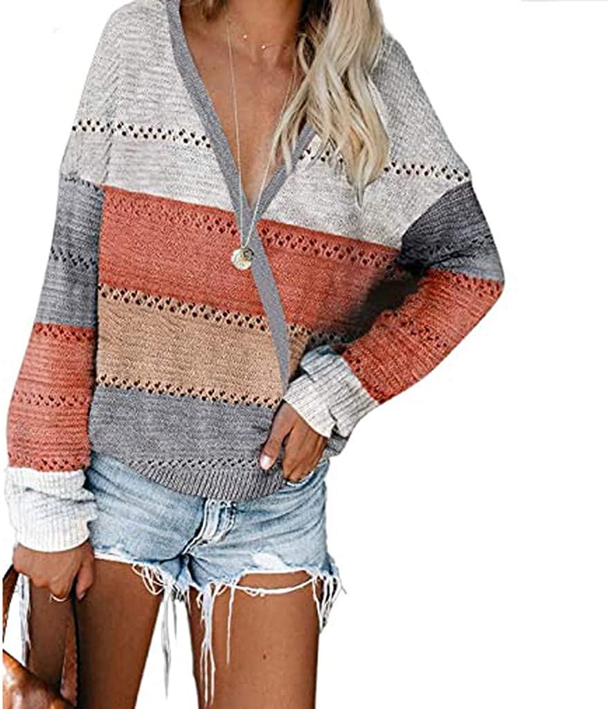 POLLYANNA KEONG Women's Lightweight Color Block Hooded Sweaters Drawstring Hoodies Pullover Sweatshirts