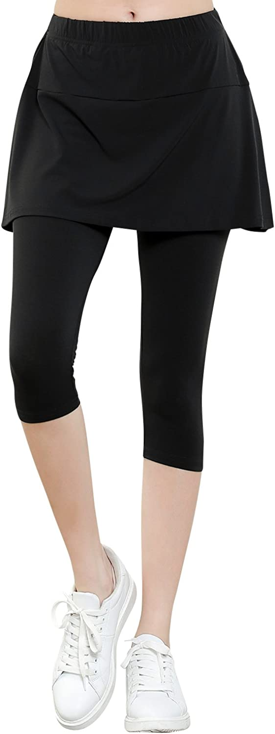 Ililily Lightweight Skirt W Stretchy Active Performance Sports Cropped Leggings