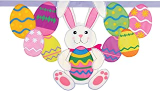 Collections Etc Easter Bunny and Eggs Hanging Banner
