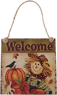 Halloween Trick or Treat Party Fall Wooden Plaque Board Door Wall Hanging Sign - Welcome 2, 15 x 15 cm