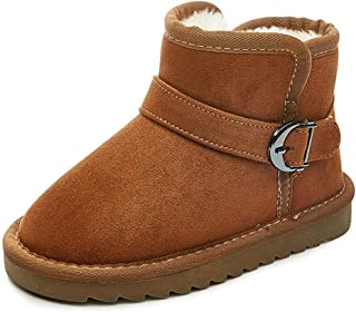 UBELLA Kids Toddler Girls Warm Fur Lining Round Toe Flat Short Boots