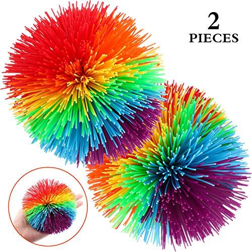 2 Stücke Groß AFFE Stringy Balls 4,5 Zoll Groß Sensorisch Fidget Stringy Balls Weiche Regenbogen Pom Bouncy Stress Balls mit Aufbewahrungstasche, Mehrfarbig (4,5 Zoll 2 Stücke)