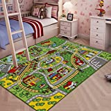 JACKSON Kid Rug Carpet Playmat for Toy Cars and Train,Huge Large 52'x 74' Play Area Rug with Rubber Backing,Kids Race Track Rug for Toddlers,Baby,and Children Playing and Learning