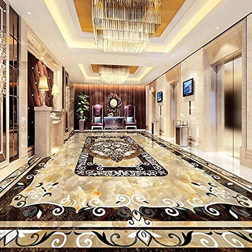 Mural personalizado 3D pegatina de suelo estilo europeo sala de estar mármol patrón de alfombra impermeable autoadhesivo suelo de vinilo papel tapiz-150x105cm