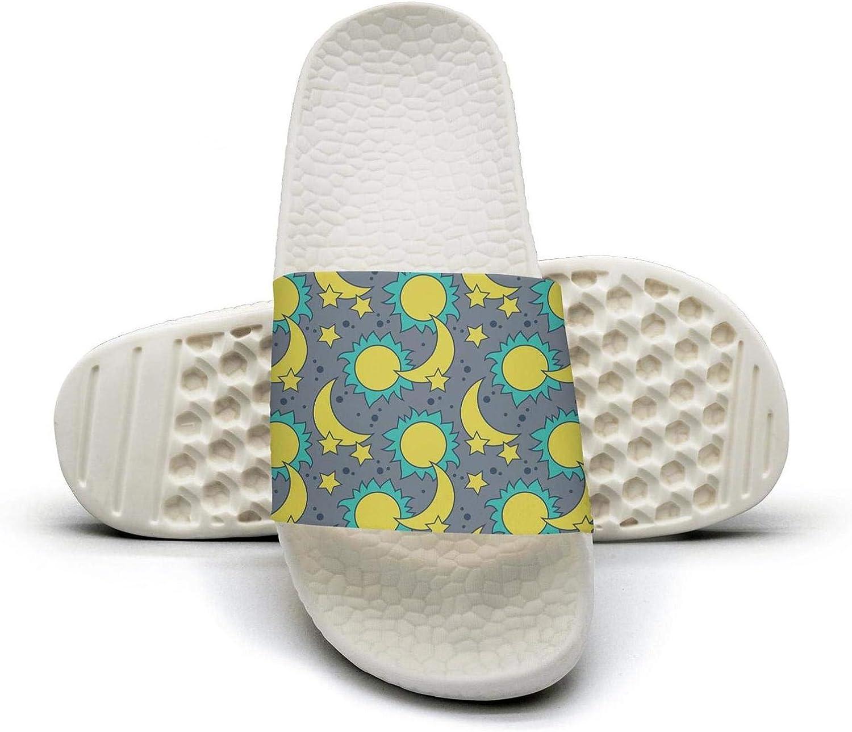 Pretty Women Moon Sun and Stars Slip on Beach Sandals and Anti-Slip Shower Slipper Comfort Sandals