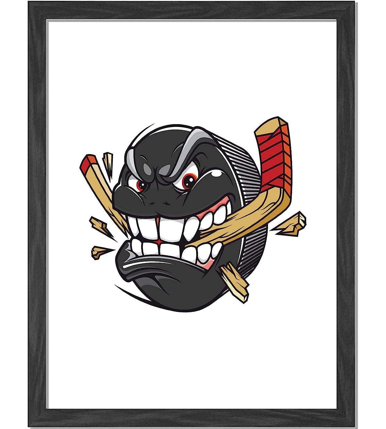 遠い小麦賛辞漫画ホッケーパック刺されと休憩ホッケースティック選手権ゲームマスコットキャラクター多色高品質額入りアートプリントウォールアート14x11in