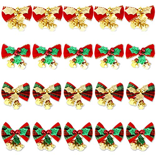 20 Pcs Christmas Mini Bow with Bells Miniature Christmas Ornaments Gift Decorations for Christmas Tree Garland Hanging Decor, 4 Styles