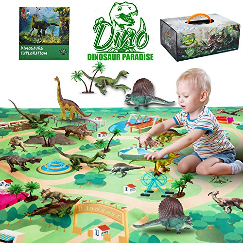 ALPULON Dinosaur Toys - Realistic Dinosaur Playset, Activity Play Mat & Trees for Creating a Dino World Including T-Rex, Triceratops, etc, for 3,4,5,6 7 8 Years Old Kids, Boys & Girls