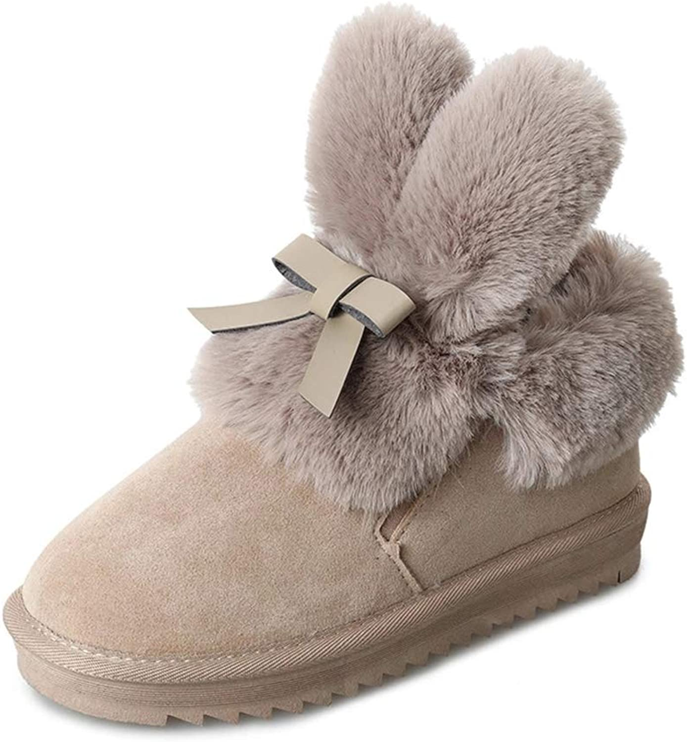Ruiatoo Women's Snow Boots Winter Anti-Slip Cute Rabbit Ear with Bow Warm Fur Lined Ladies shoes