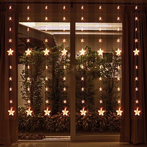 YXLD XJLLOVE sterrengordijnlichtsnoer met 8 144 led-ramen, 8 snoeren met decoratieve patronen, geschikt voor binnen en buiten, Kerstmis, bruiloft, feest, familie, tuin gazon