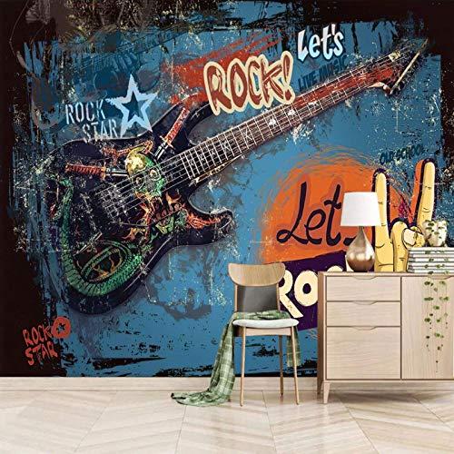 wallpaper for bedroom 3d 250x175cm Bunt Mode Graffiti Gitarre selbstklebend Tapete Selbstklebende Wandbild 3D Wanddeko Vliestapete Wandaufkleber Tv Hintergrund Wand dekor Junge Schlafzimmer Junge Schl