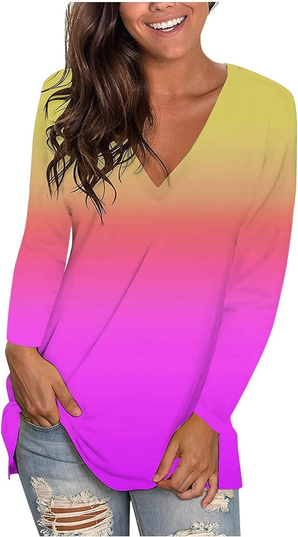Women's Tie-dye V-Neck Tops T-shirt Fashion Casual Long Sleeve Blouse Tunics