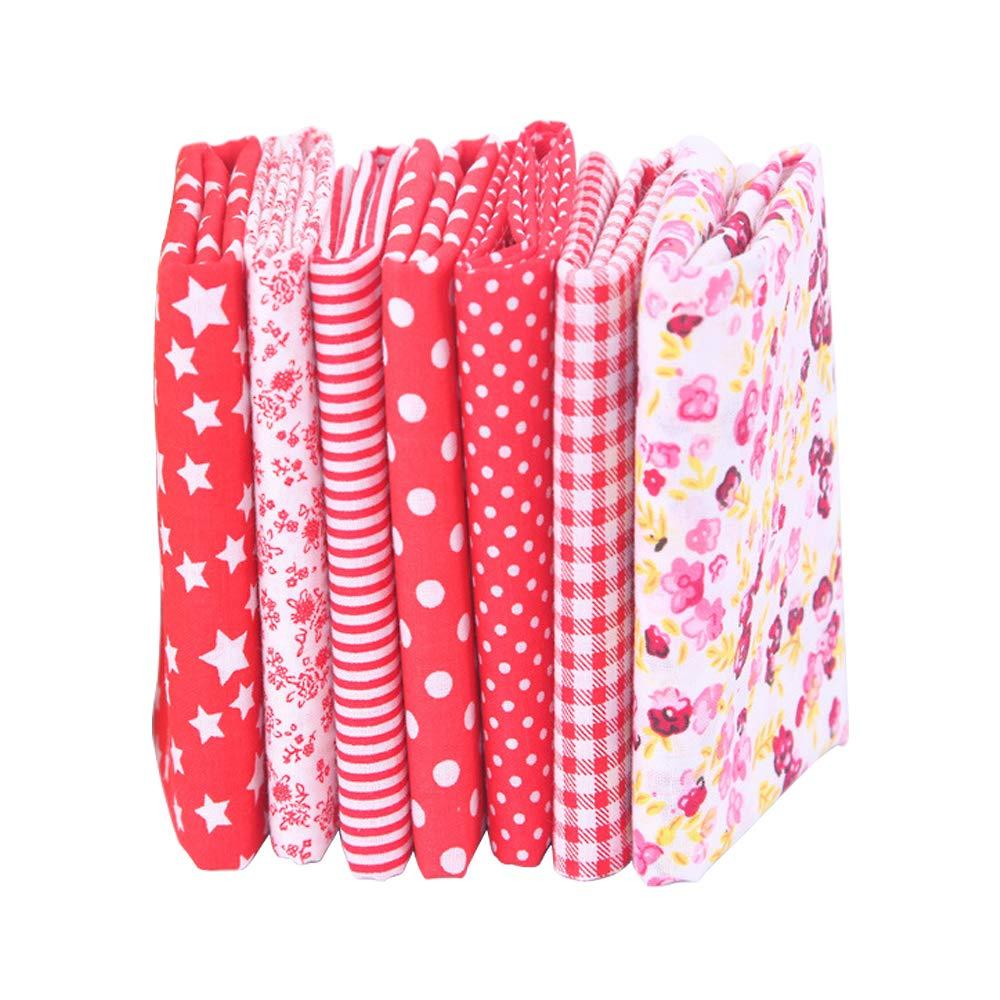 7 piezas de telas de algodón paquete de tela 50x50cm para patchwork costura DIY Sin diseño repetido flores impresas (rojo): Amazon.es: Hogar