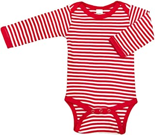 red and white striped long sleeve onesie