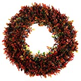 Red Boxwood Wreath - Sunnysdady 16 inches Artificial Front Door Christmas Decorations…