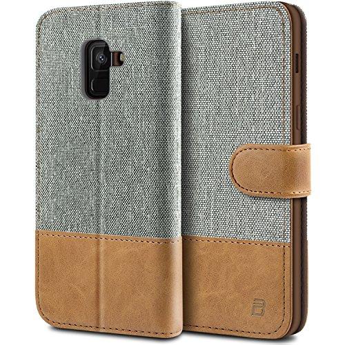 BEZ Hülle für Samsung A8 2018 Hülle, Handyhülle Kompatibel für Samsung Galaxy A8 2018, Handytasche Schutzhülle Tasche Case [Stoff & PU Leder] mit Kreditkartenhaltern, Grau