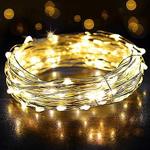 LEDストリングライトUSB式イルミネーションライト12M 120LED球 LEDストリングライトIP65防水防雨仕様 屋内外使用 クリスマス 新年 カーテン ロマンチック雰囲気 写真飾り 祝日 結婚式 パーティー 誕生日 学園祭 庭 街路樹装飾 飾りライト(ウォームホワイト)