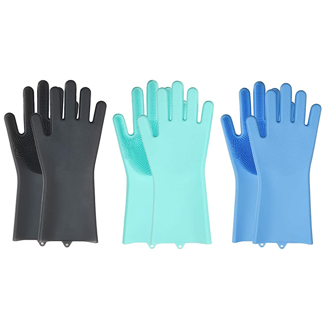 Silicone Dishwashing Gloves, Heat Resistant, For Grilling, BBQ, and Kitchen Baking (Green)