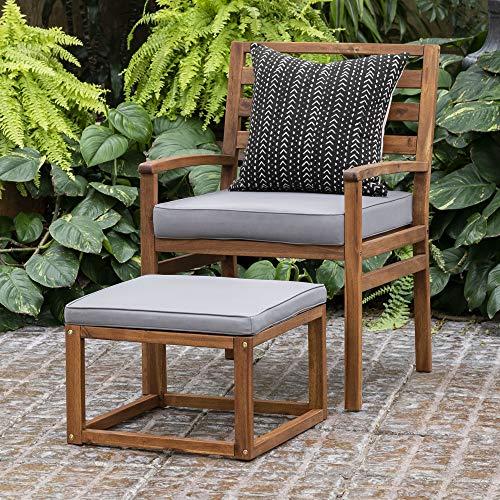 Walker Edison Villa Modern Acacia Wood Patio Chair and Ottoman Set with Cushions, 35 Inch, Brown