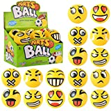 Liberty Imports 24 Pack Yellow Squeeze Emoji Stress Balls - Soft Foam PU Sensory Toys for Toddlers, Kids, Adults Party Favors (3 inches)