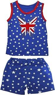 Petitebella Girls' UK Butterfly Patriotic Stars Red Cotton Shirt Short Set