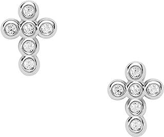 FOSSIL , Earrings Sterling Silver No Gemstones womens, Silver, Height: 11mm, Width: 6.4mm - JFS00544040