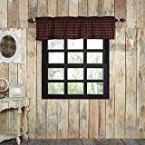VHC Brands Rustic & Lodge Kitchen Window Cumberland Red Curtain, Valance 16x72