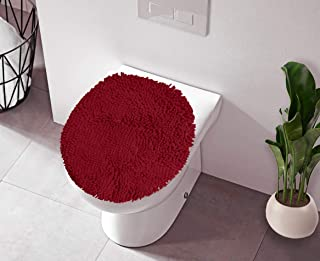 LuxUrux Toilet Lid Cover, Extra-Soft Plush Seat Cloud Washable Shaggy Microfiber Standard Toilet Lid Covers for Bathroom Machine Wash & Dry. (19 x 21 inches, Maroon-Red)