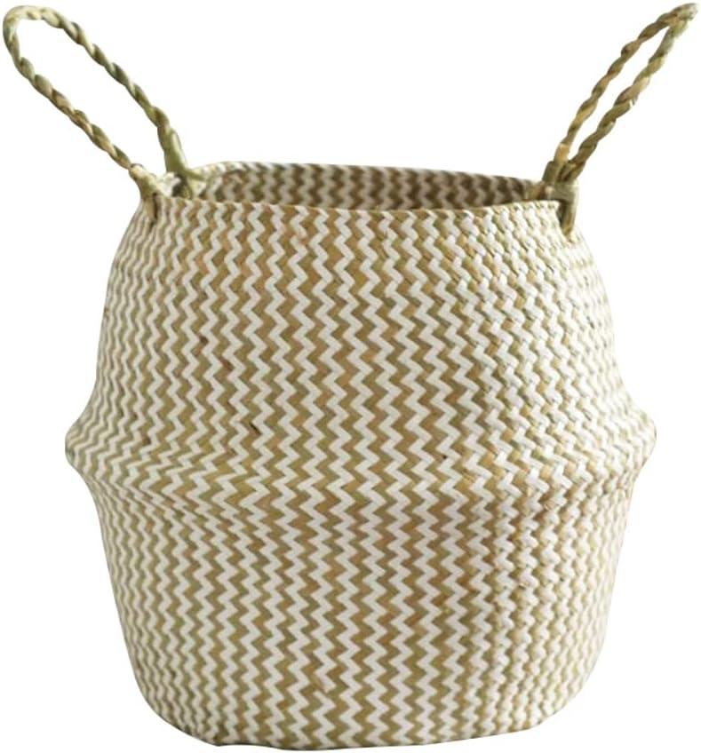 MESE Woven Basket Durable Max 69% OFF Handmad Foldable Finally popular brand Grass Wicker