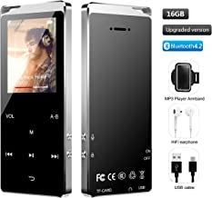 $29 Get MP3 Player, Hieha Bluetooth 4.2 Lossless Sound Music Player with Ebook FM Radio Recording Function 16GB 1.8 inch Touch Control Panel + arm Pack