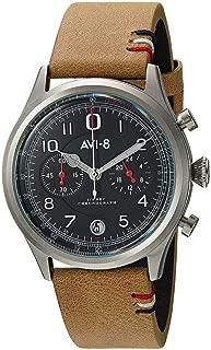 AVI-8 Men's Flyboy Lafayette Stainless Steel Japanese-Quartz Aviator Watch with Leather Strap, Brown, 22 (Model: AV-4054-02)