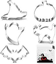 Halloween Cookie Cutters - 5 pieces Cookie Cutters Shape - Pumpkin, Bat, Ghost, Cat and Witch Hat Shapes for Halloween Foo...