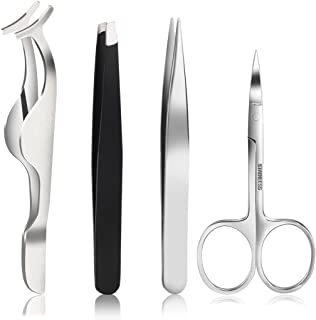 PIXNOR Tweezers Set - PIXNOR Professional Pointed and Straight Tweezers, Eyebrow Scissors and Fake Eyelashes Extension Applicator Kit Makeup Tools