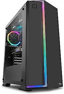 Nox Infinity Neon -NXINFTYNEON- Caja para ordenador, tira frontal ARGB rainbow, panel lateral templado,ventilador 120 mm A...