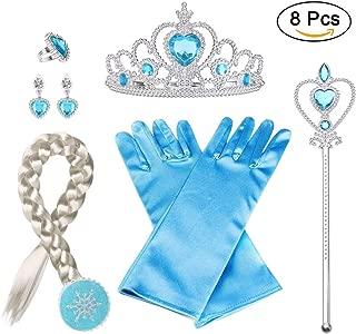 Vicloon 8 PCS Nuovi Accessori per Vestire Principessa con Treccia,Diadema,Guanti,Bacchetta Magica,Orecchini,Anello per Ragazze di 3-10 Anni …