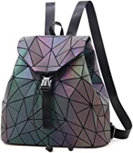 Asdfnfa Backpack, Women Geometric Backpack Lingge Laser School Backpack,Holographic Reflective Shoulder Bags Travel College Rucksack (Color : 1)