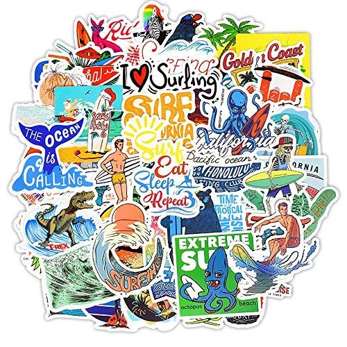 JZLMF Pegatinas de Surf al Aire Libre, Deportes de Verano, Playa Tropical, Surf, Impermeable a DIY, calcomanías de monopatín de Tabla de Surf, 50 Uds.