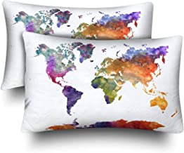 NHJYU Watercolor World Map Abstract Splatters Painting Map Pillow Cases Funda de Almohada Standard Size 20x30 Set of 2, Rectangle Fundas de Almohada Protector for Home Couch Sofa Bedding Decorative