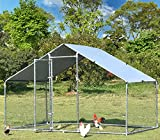 Large Metal Chicken Coop Hen Run Duck House Outdoor Walk-in Poultry Cage Rabbits Habitat Cage Spire Shaped Coop with Waterproof and Anti-Ultraviolet Cover for Backyard Farm Use 9.8'L x 6.6'W x 6.4'H