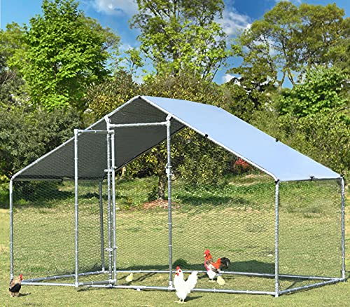 Large Metal Chicken Coop Run Duck House Outdoor Walk-in Poultry Cage Rabbits Habitat Cage Spire Shaped with Waterproof Cover for Backyard Farm Use 9.8'L x 6.6'W x 6.4'H