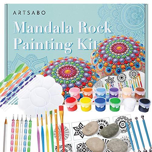 55PCS Mandala Dotting Tools Rock Painting Kit with Brushes, Dot Tools, Paint Tray, Drawing Art Supplies, Mandala Stencils, Ball Stylus, and Rocks Craft Nail Kits