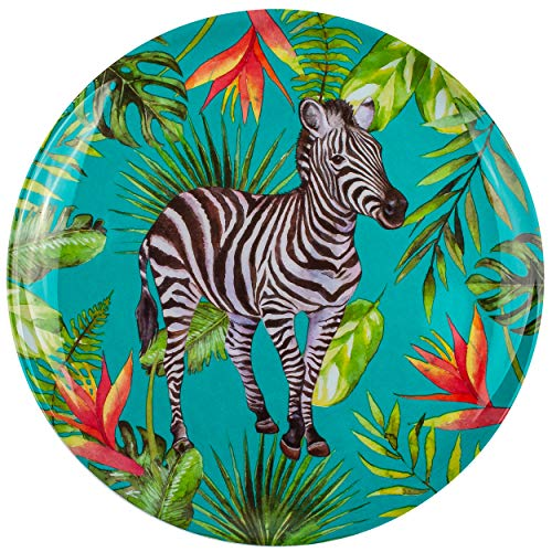 Geschirr - Motivwahl - Teller / Speiseteller - Zebra - Tiere - Ø 20 cm - Abendbrotteller - Frühstücksteller - BPA frei - Melamin / Melaminteller - Kunststofft..