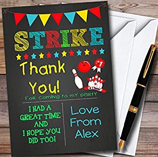 Boys Bowling Chalk Personalized Party Thank You Cards