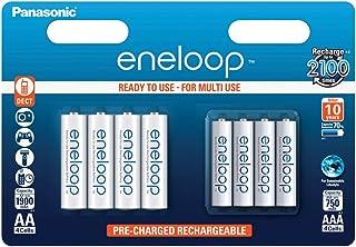 Panasonic eneloop, Ready to Use Ni MH Akku, 8er Kombi Pack, 4x eneloop AA Mignon + 4x eneloop AAA Micro, 2100 Ladezyklen, starke Leistung, geringe Selbstentladung, wiederaufladbare Akku Batterie